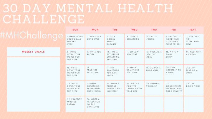 Mental health challenge calendar